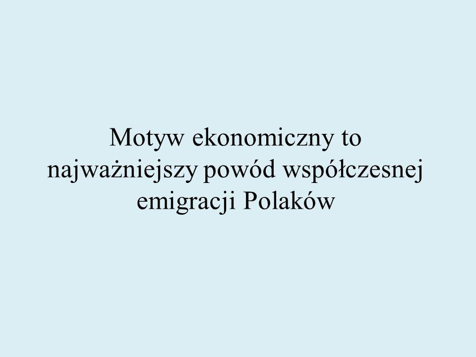 Motyw ekonomiczny to najważniejszy powód współczesnej emigracji Polaków