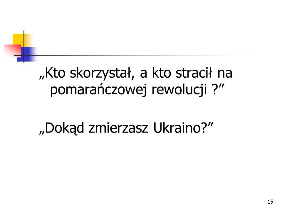 """""""Kto skorzystał, a kto stracił na pomarańczowej rewolucji"""