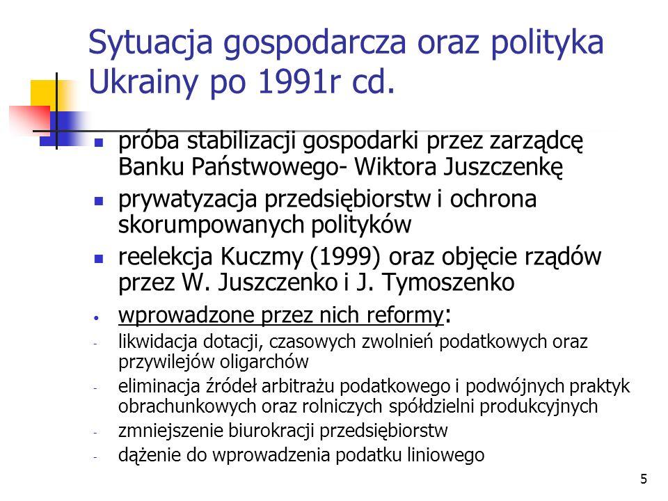 Sytuacja gospodarcza oraz polityka Ukrainy po 1991r cd.