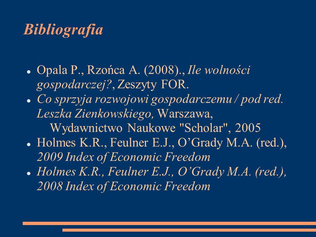 Bibliografia Opala P., Rzońca A. (2008)., Ile wolności gospodarczej , Zeszyty FOR.