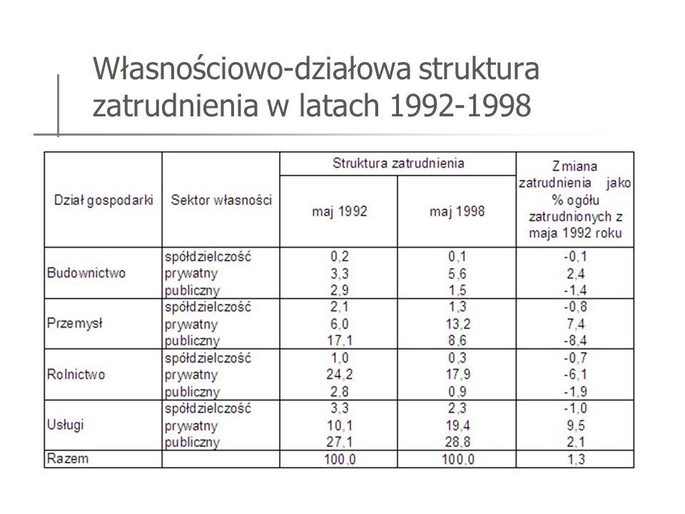 Własnościowo-działowa struktura zatrudnienia w latach 1992-1998