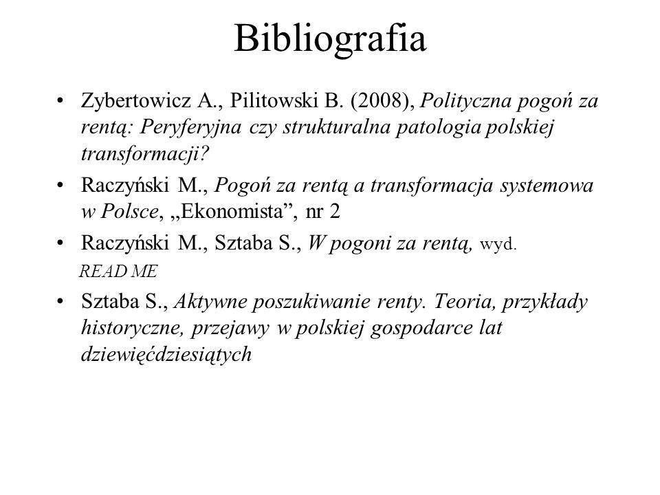 Bibliografia Zybertowicz A., Pilitowski B. (2008), Polityczna pogoń za rentą: Peryferyjna czy strukturalna patologia polskiej transformacji