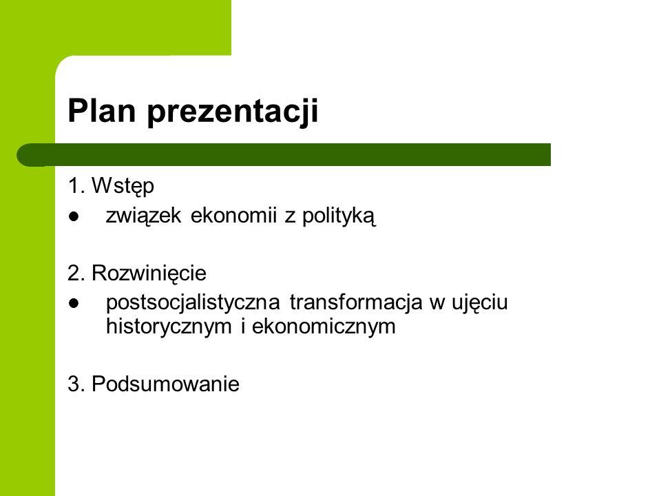 Plan prezentacji 1. Wstęp związek ekonomii z polityką 2. Rozwinięcie