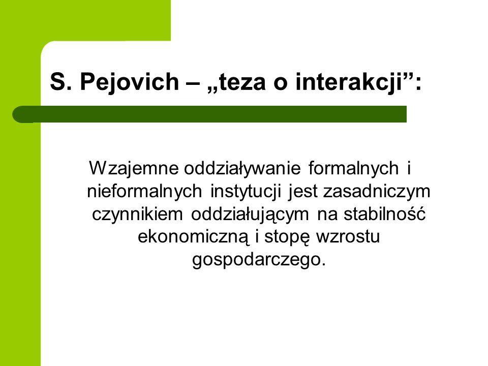 """S. Pejovich – """"teza o interakcji :"""