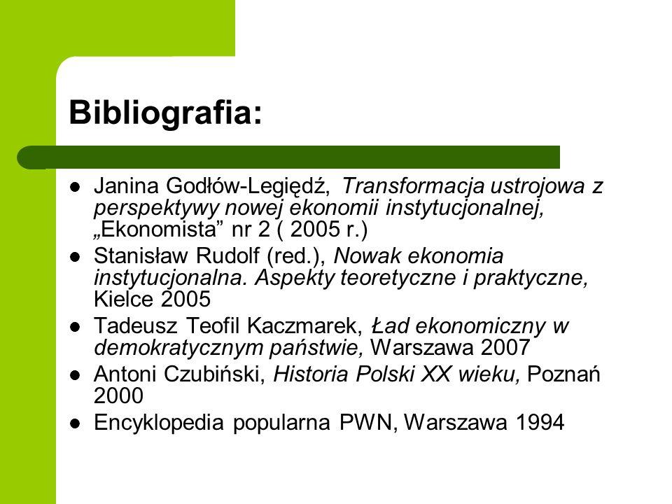 """Bibliografia: Janina Godłów-Legiędź, Transformacja ustrojowa z perspektywy nowej ekonomii instytucjonalnej, """"Ekonomista nr 2 ( 2005 r.)"""