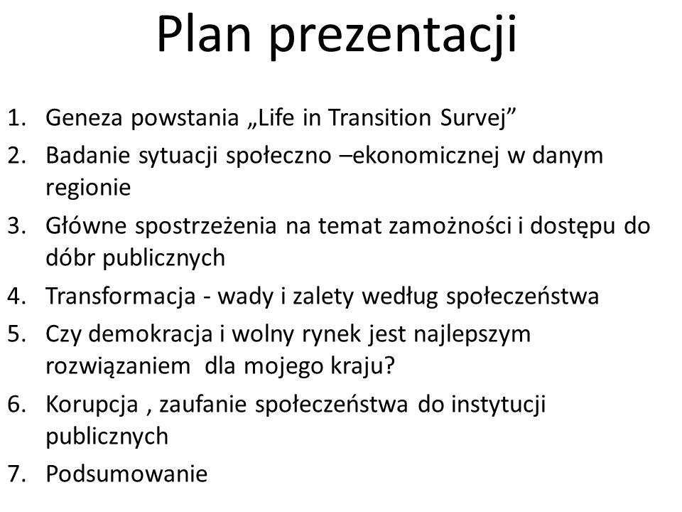 """Plan prezentacji Geneza powstania """"Life in Transition Survej"""