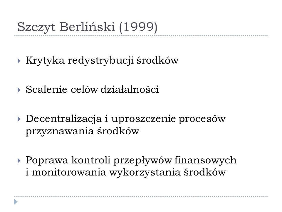 Szczyt Berliński (1999) Krytyka redystrybucji środków