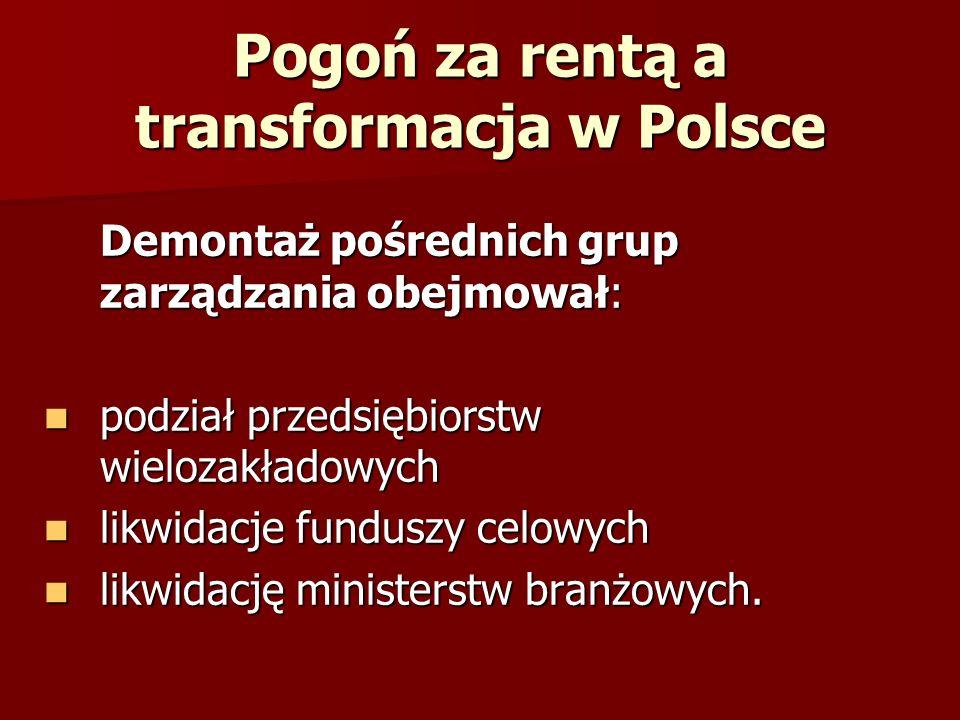 Pogoń za rentą a transformacja w Polsce