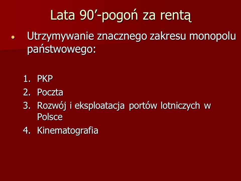 Lata 90'-pogoń za rentąUtrzymywanie znacznego zakresu monopolu państwowego: PKP. Poczta. Rozwój i eksploatacja portów lotniczych w Polsce.