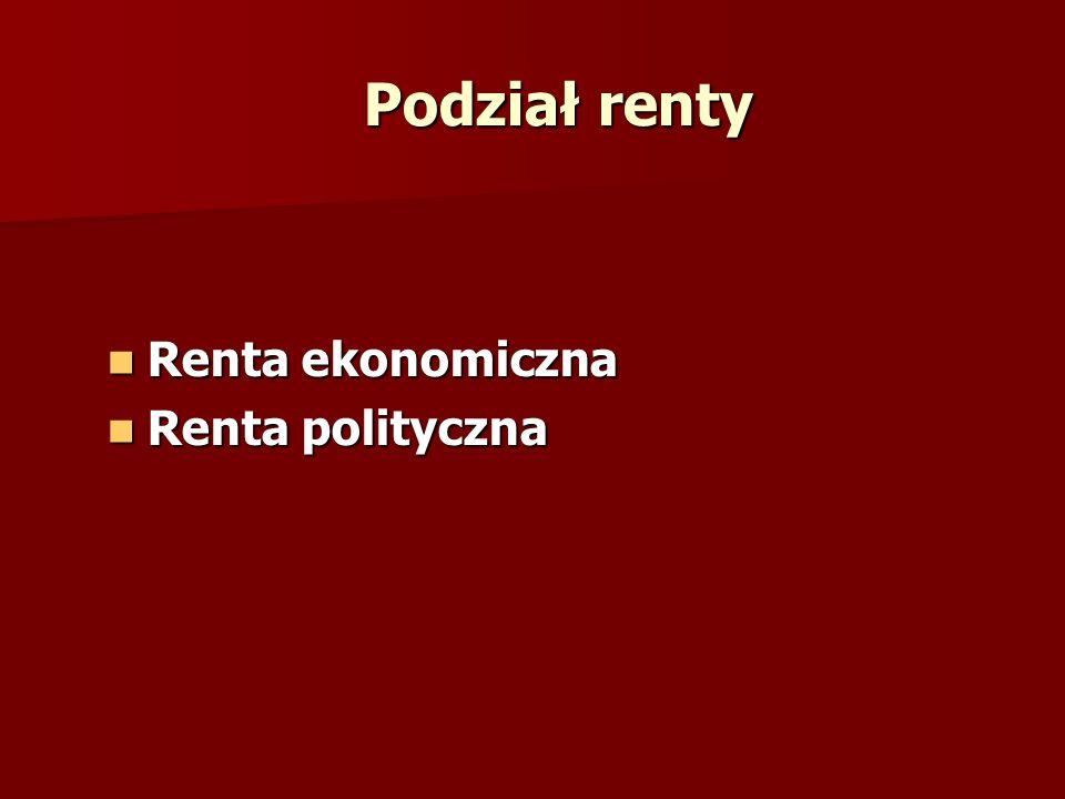 Podział renty Renta ekonomiczna Renta polityczna