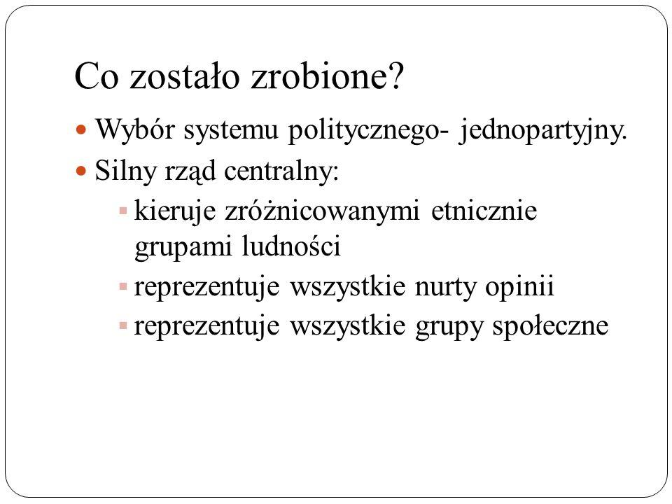 Co zostało zrobione Wybór systemu politycznego- jednopartyjny.