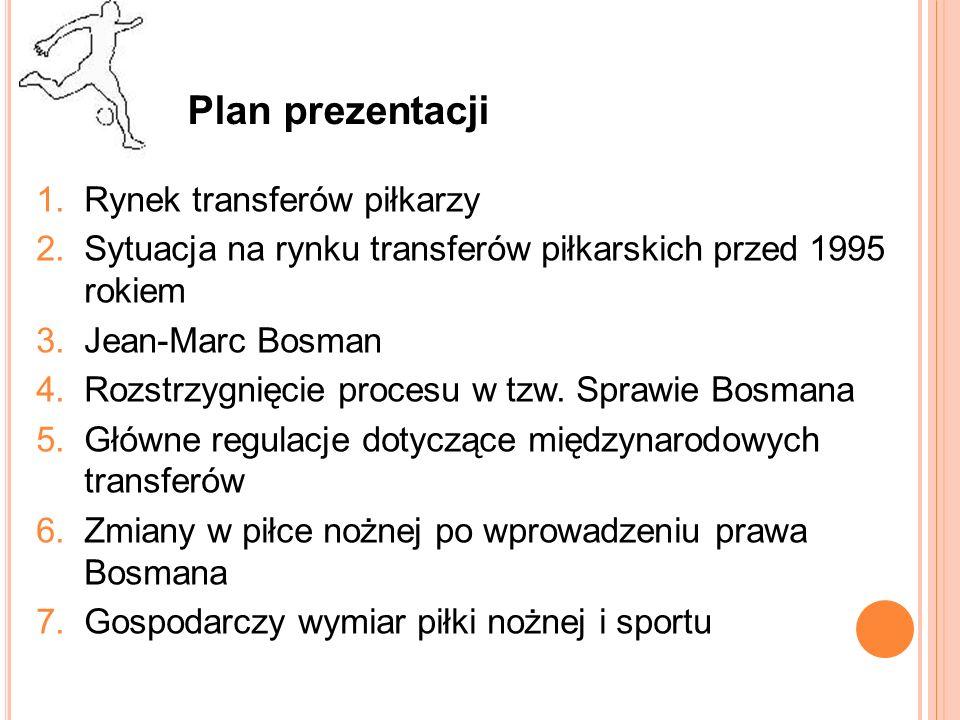 Plan prezentacji Rynek transferów piłkarzy