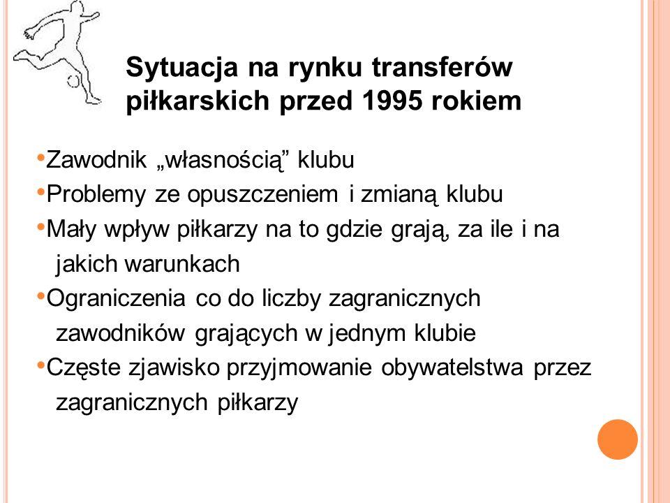 Sytuacja na rynku transferów piłkarskich przed 1995 rokiem