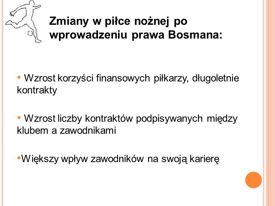 Zmiany w piłce nożnej po wprowadzeniu prawa Bosmana: