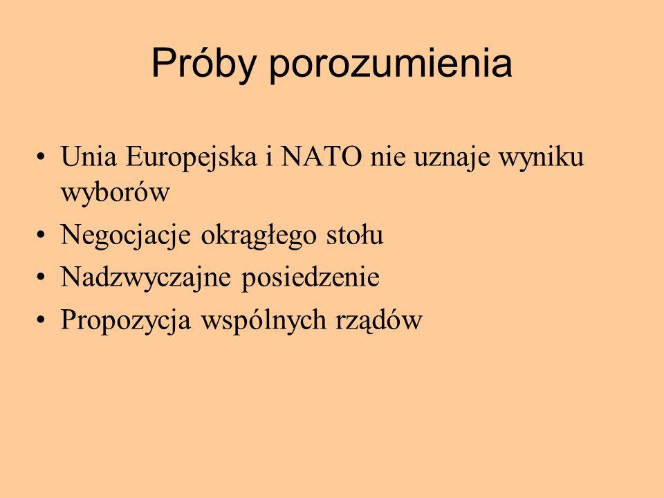 Próby porozumienia Unia Europejska i NATO nie uznaje wyniku wyborów