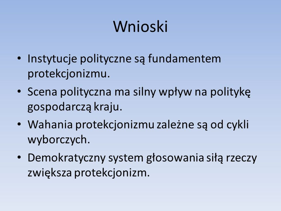Wnioski Instytucje polityczne są fundamentem protekcjonizmu.