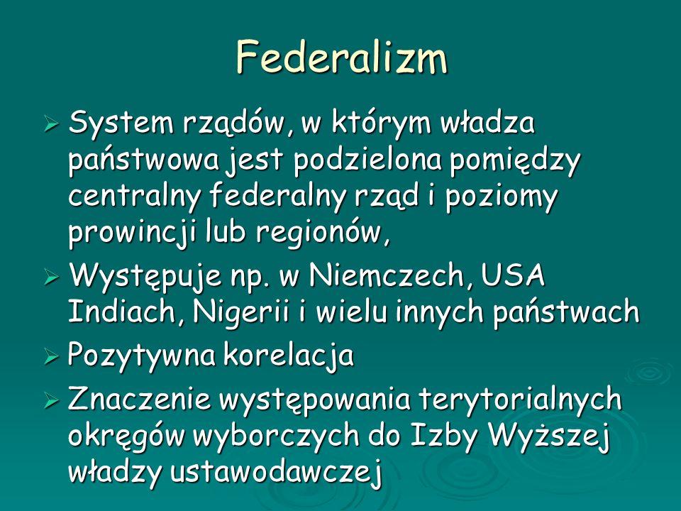 Federalizm System rządów, w którym władza państwowa jest podzielona pomiędzy centralny federalny rząd i poziomy prowincji lub regionów,