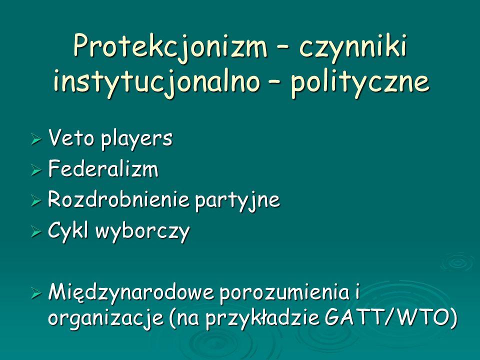 Protekcjonizm – czynniki instytucjonalno – polityczne