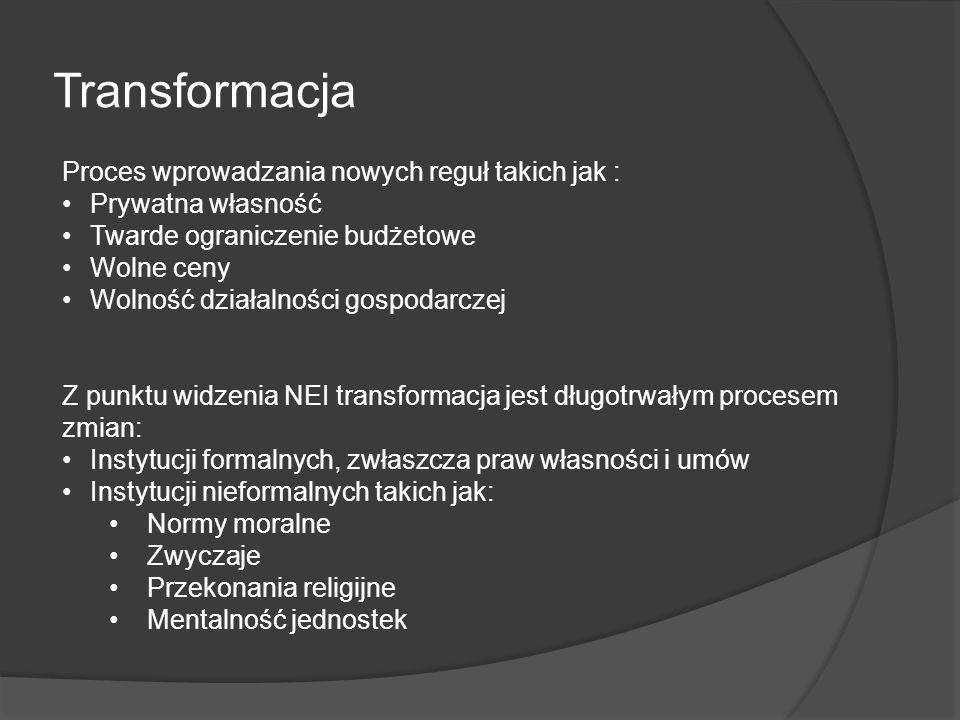 Transformacja Proces wprowadzania nowych reguł takich jak :
