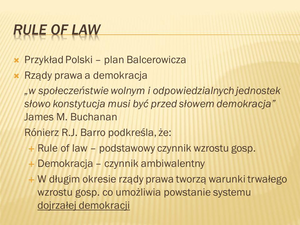 Rule of law Przykład Polski – plan Balcerowicza