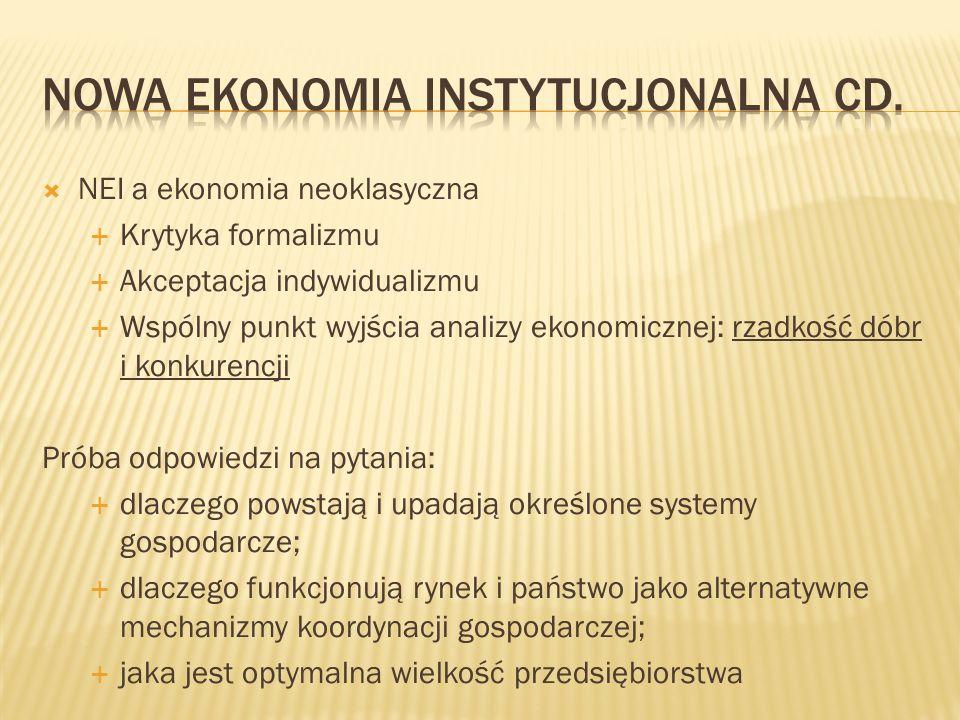 Nowa ekonomia instytucjonalna cd.