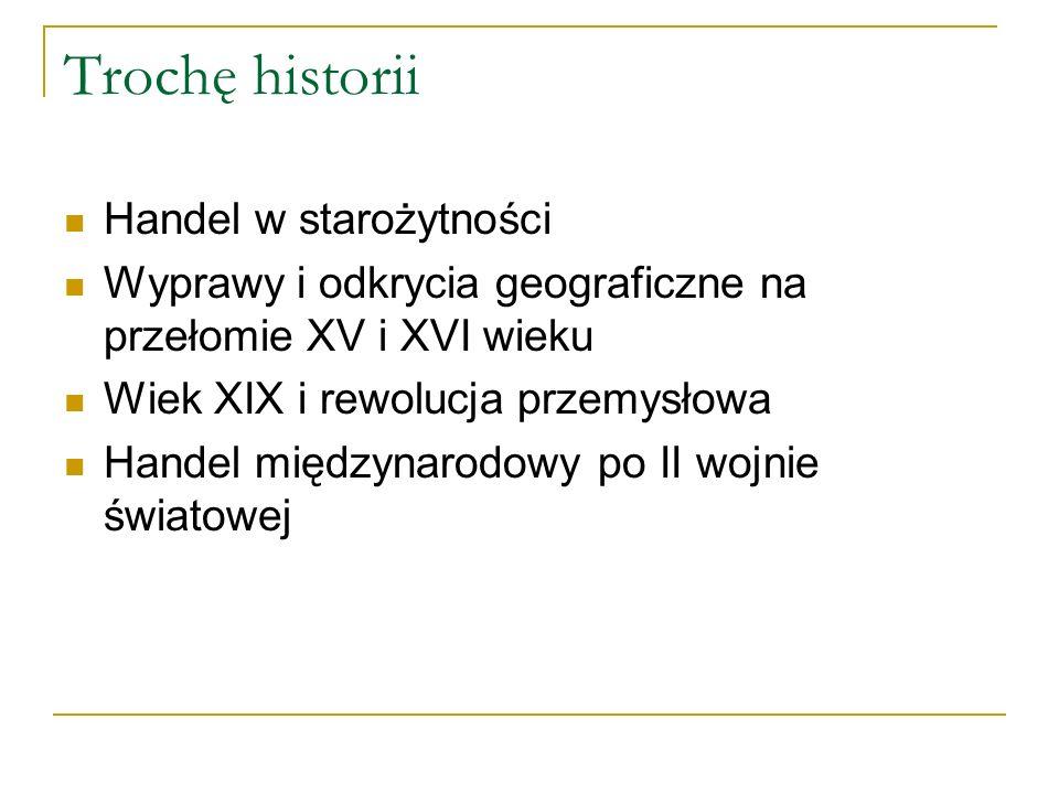 Trochę historii Handel w starożytności