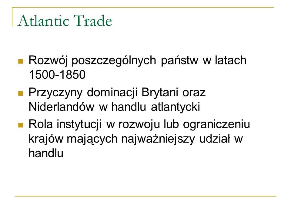 Atlantic Trade Rozwój poszczególnych państw w latach 1500-1850