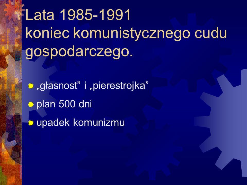 Lata 1985-1991 koniec komunistycznego cudu gospodarczego.