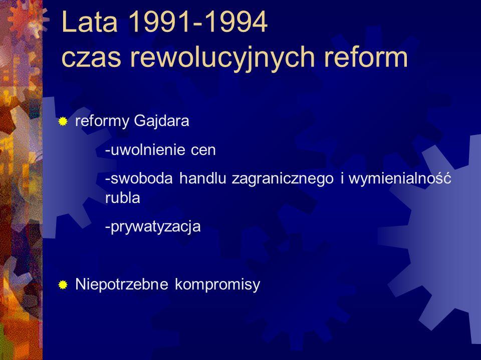 Lata 1991-1994 czas rewolucyjnych reform