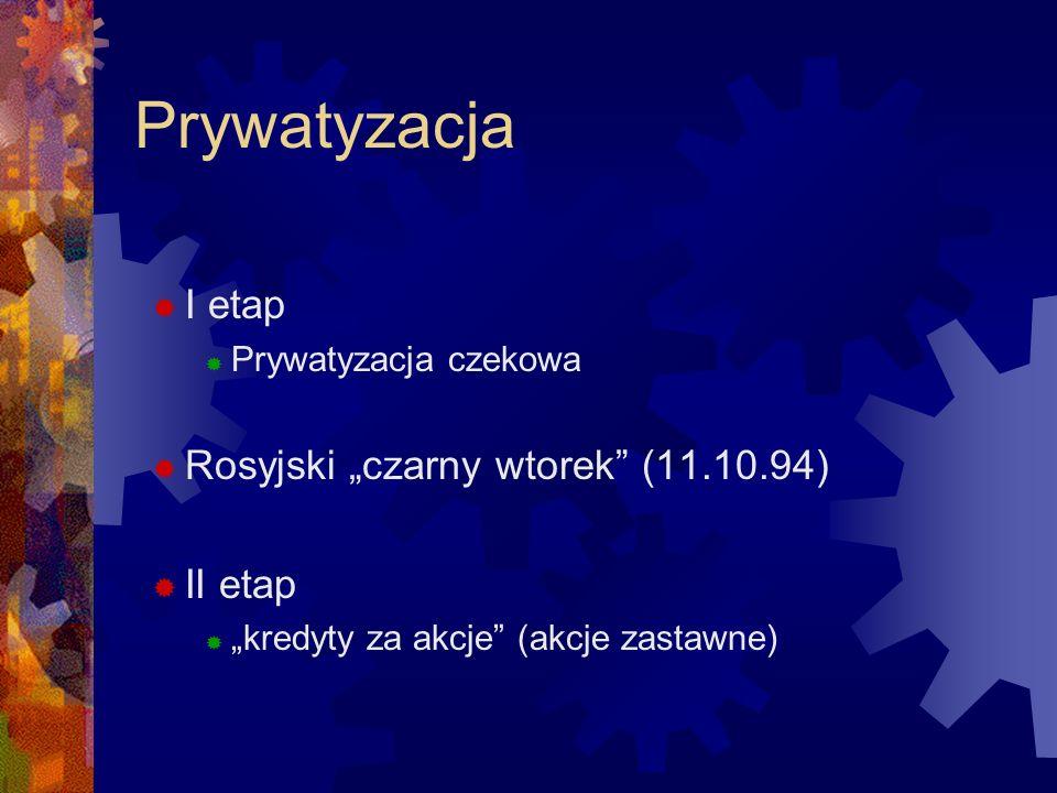 """Prywatyzacja I etap Rosyjski """"czarny wtorek (11.10.94) II etap"""