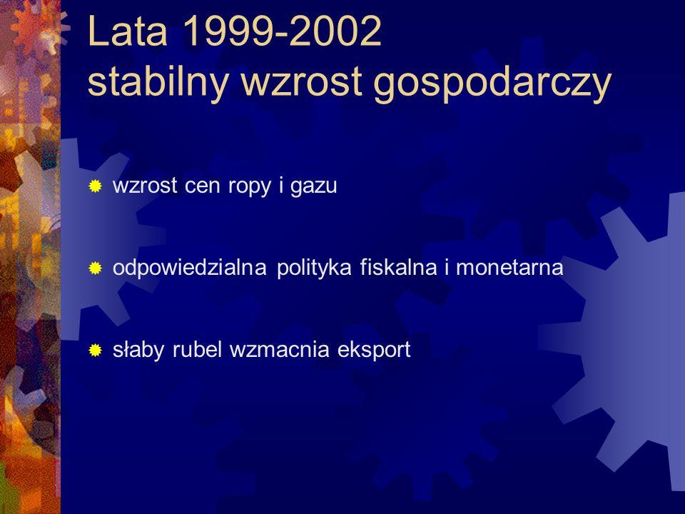Lata 1999-2002 stabilny wzrost gospodarczy