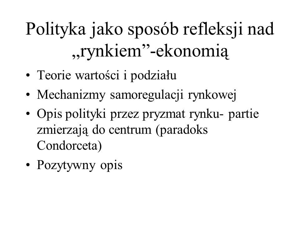 """Polityka jako sposób refleksji nad """"rynkiem -ekonomią"""