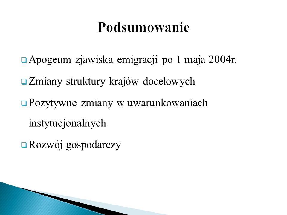 Podsumowanie Apogeum zjawiska emigracji po 1 maja 2004r.