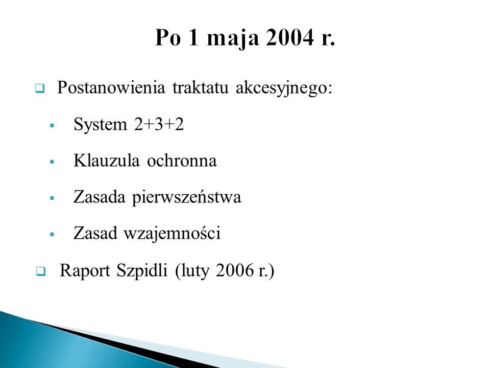 Po 1 maja 2004 r. Postanowienia traktatu akcesyjnego: System 2+3+2