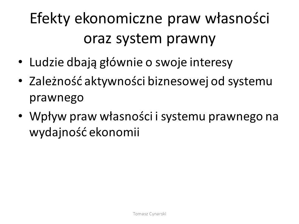 Efekty ekonomiczne praw własności oraz system prawny
