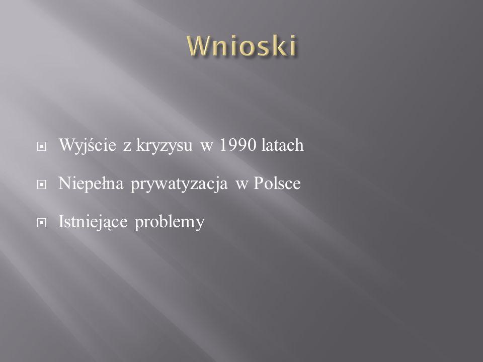 Wnioski Wyjście z kryzysu w 1990 latach Niepełna prywatyzacja w Polsce