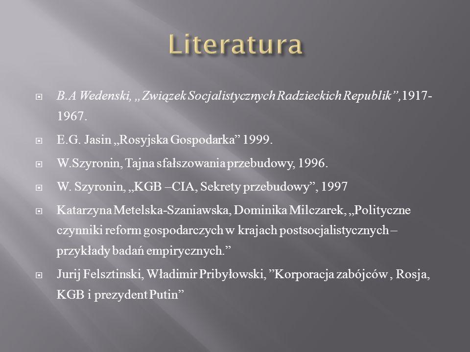 """Literatura B.A Wedenski, """"Związek Socjalistycznych Radzieckich Republik ,1917-1967. E.G. Jasin """"Rosyjska Gospodarka 1999."""
