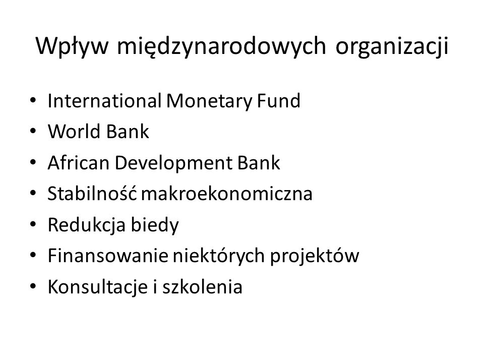 Wpływ międzynarodowych organizacji