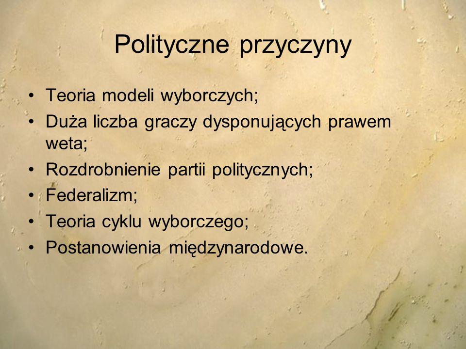 Polityczne przyczyny Teoria modeli wyborczych;