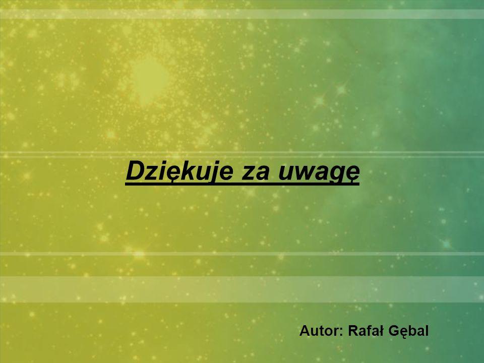 Dziękuje za uwagę Autor: Rafał Gębal