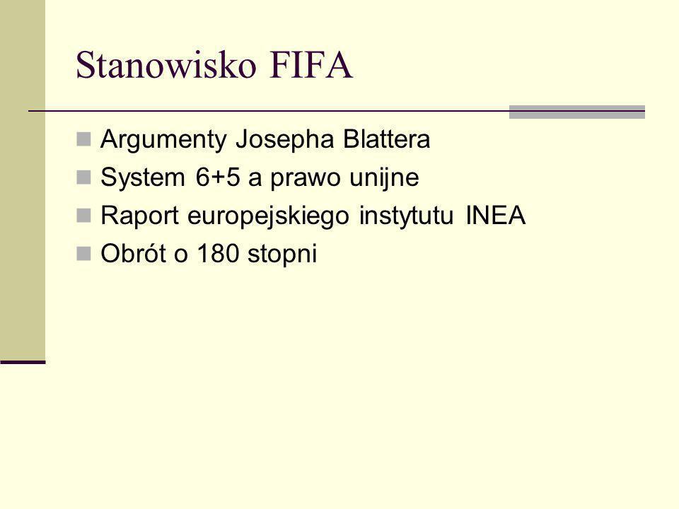 Stanowisko FIFA Argumenty Josepha Blattera System 6+5 a prawo unijne