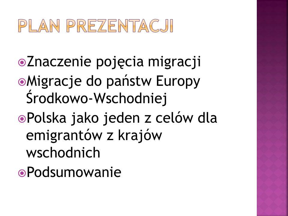 Plan prezentacji Znaczenie pojęcia migracji