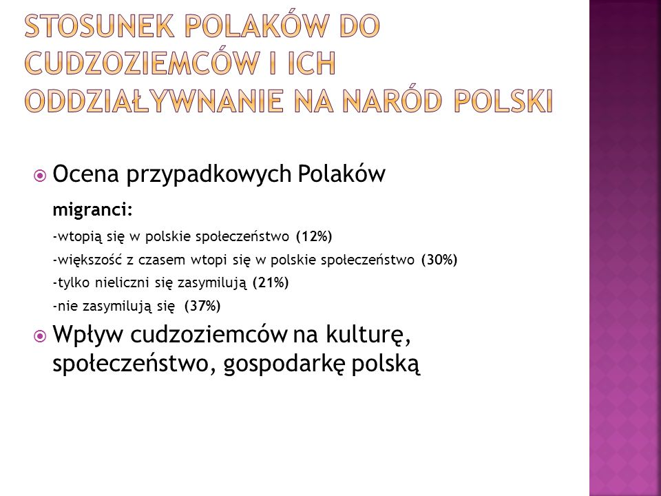 Stosunek Polaków do cudzoziemców i ich oddziaływnanie na naród polski