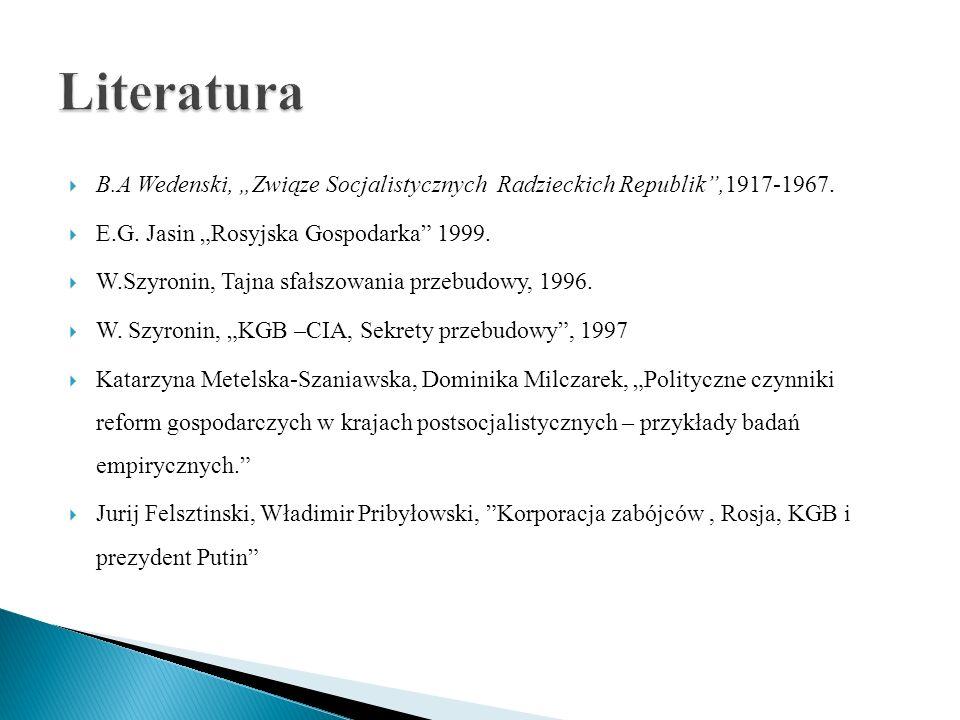 """Literatura B.A Wedenski, """"Związe Socjalistycznych Radzieckich Republik ,1917-1967. E.G. Jasin """"Rosyjska Gospodarka 1999."""