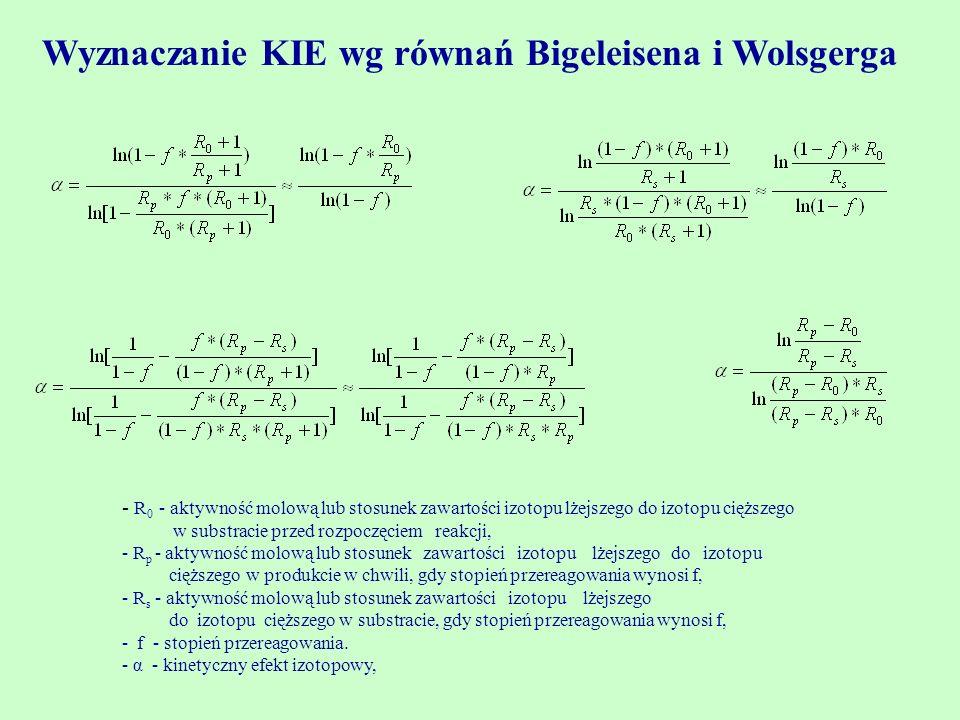 Wyznaczanie KIE wg równań Bigeleisena i Wolsgerga
