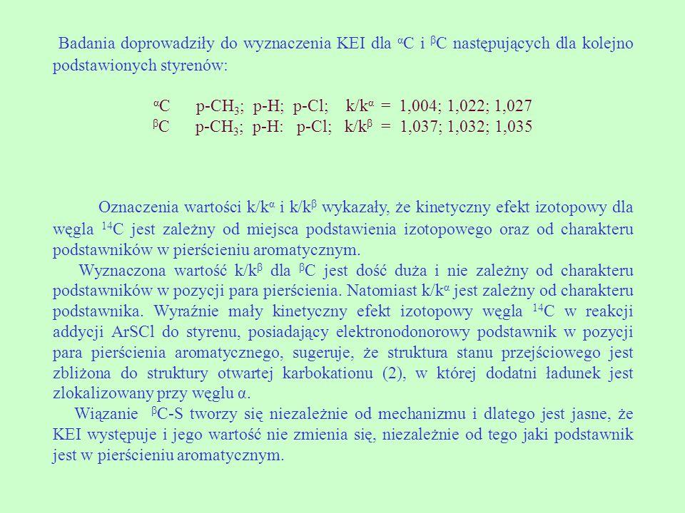 Badania doprowadziły do wyznaczenia KEI dla αC i βC następujących dla kolejno podstawionych styrenów: