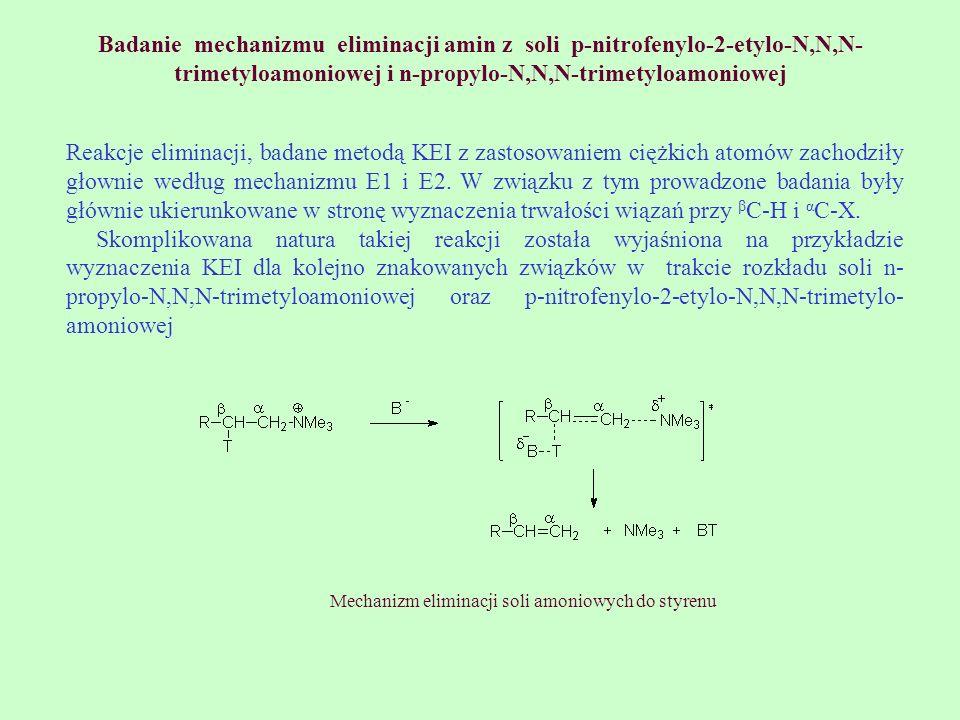 Badanie mechanizmu eliminacji amin z soli p-nitrofenylo-2-etylo-N,N,N-trimetyloamoniowej i n-propylo-N,N,N-trimetyloamoniowej