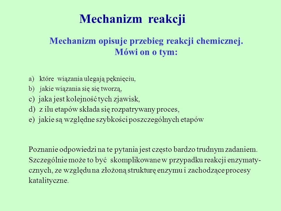 Mechanizm opisuje przebieg reakcji chemicznej.