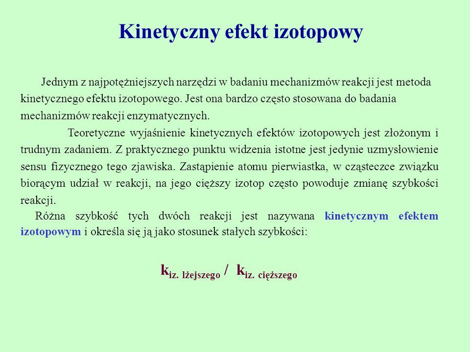 Kinetyczny efekt izotopowy kiz. lżejszego / kiz. cięższego