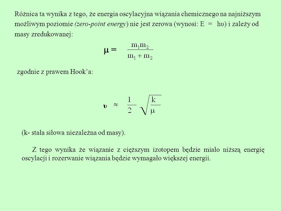 Różnica ta wynika z tego, że energia oscylacyjna wiązania chemicznego na najniższym możliwym poziomie (zero-point energy) nie jest zerowa (wynosi: E = hυ) i zależy od masy zredukowanej: